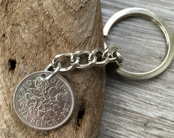 50th Birthday Gift 1967 lucky sixpence British coin keyring or bag charm unusual gift for a man, cool present for a woman, English, England