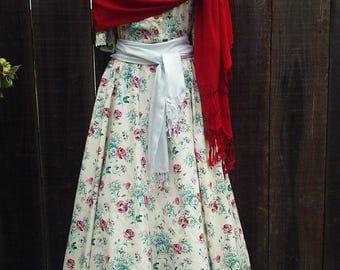Vintage Spring-Summer long floral dress. Frida Kahlo costume.
