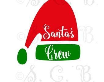 Santa's Crew santa hat SVG / Christmas SVG File download/ cutting file/ cricut/ silhouette/ Santa's helper/ santa hat/ santa's crew