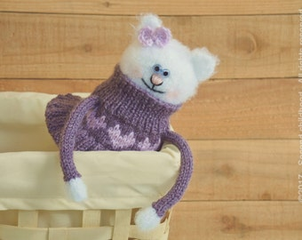 White cat plush stuffed toy cat knitted animal cute plush kitty cat toy heart made to order