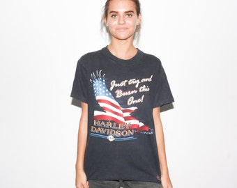 1989 Just Try And Burn This One 80s Harley Davidson American Flag Eagle T Shirt