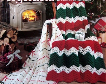 Holiday Afghans To Crochet In One Piece Four Designs By Carole Rutter Tippett Vintage Crochet Pattern Leaflet 1990