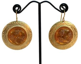 Amber Earrings, Flower Earrings, Renaissance Jewelry, Reign Jewelry, Reign Earrings, Ren Faire Earrings, Golden Earrings, Golden Yellow OOAK