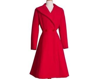 1980s Vintage Designer Red Princess Coat, 80s 50s Style Fine Wool Heavy Winter Coat by Pauline Trigere Small Medium