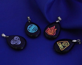Glow in the Dark 4 Nations Necklace, Avatar The Last Airbender Necklace, Air Earth Water Fire Elements, Fire Nation, Geekery, Element Symbol