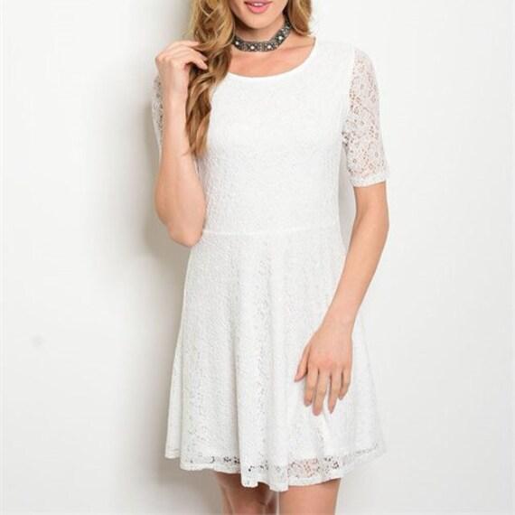 White Short Sleeve Dress Lace Skater Casual Wedding