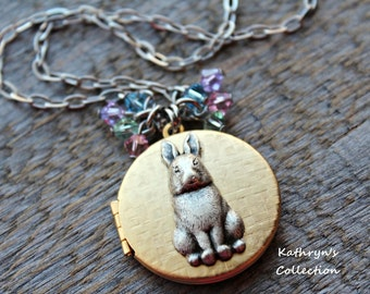 Easter Bunny Locket, Bunny Locket Necklace, Easter Jewelry, Easter Accessories