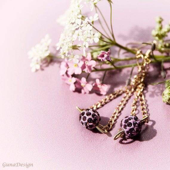 Pink Bead Dangling Earrings