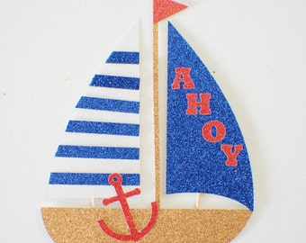 boat cake topper, sailboat cake topper, Nautical cake topper, nautical party