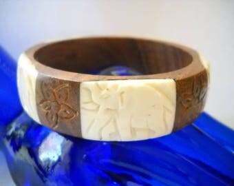 Bracelet Vintage India Bangle Bracelet Wooden w White Carved Elephant Insets Vintage Wood Bracelet Brown Cream Boho Woodland
