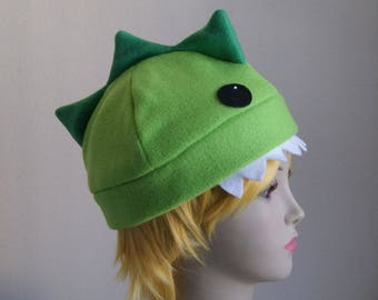 NOMSTER the Dinosaur Fleece Dino Beanie Hat GREEN Handpainted Anime Monster Dragon Animal Hat Original Character by Akana