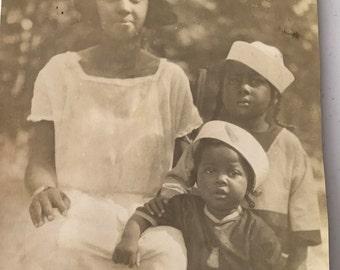 Mama and her sailor babies  Vintage photograph-Black Americana