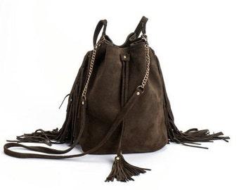 Leather Bucket bag, khaki bucket bag, Olive green Sac bag, Leather bag, Gift for her, Christmas gift, Sale!