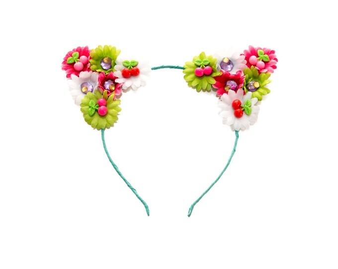 Cherry Cat Ear Headband