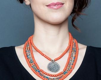 Ukrainian necklace with coins - Ukrainian traditional Jewelry - Ukrainian multi strand necklace - Ukrainian ethnic necklace - Ukrainan