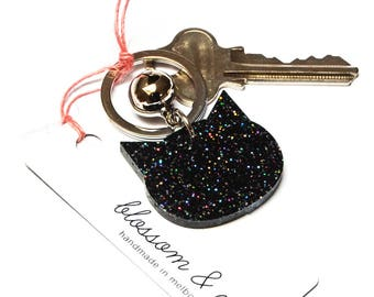 Cat Keyring · Black Cat Keyring with Glitter · Glitter Keyring · Cat Keyring with Bell