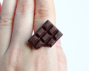 Cute dark chocolate bar adjustable ring candy sweet cute miniature food sweettooth jewelry handmade polymer clay