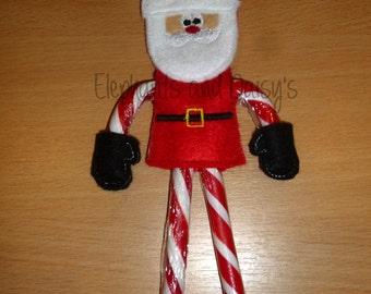 Santa Candy Cane Holder Embroidery design file
