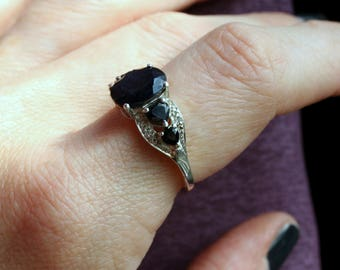 Vintage Black Blue Sapphire Ring. Faceted Center w Heart Stones & Cz's on sides Interesting Color Stone! Alternative Engagement Promise Ring