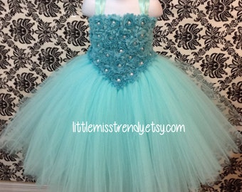 Aqua Couture Flower Girl Dress, Aqua Tutu Dress, Couture Tutu Dress, Couture Flower Girl Dress, Aqua Couture Tutu Dress, Aqua Pageant Dress