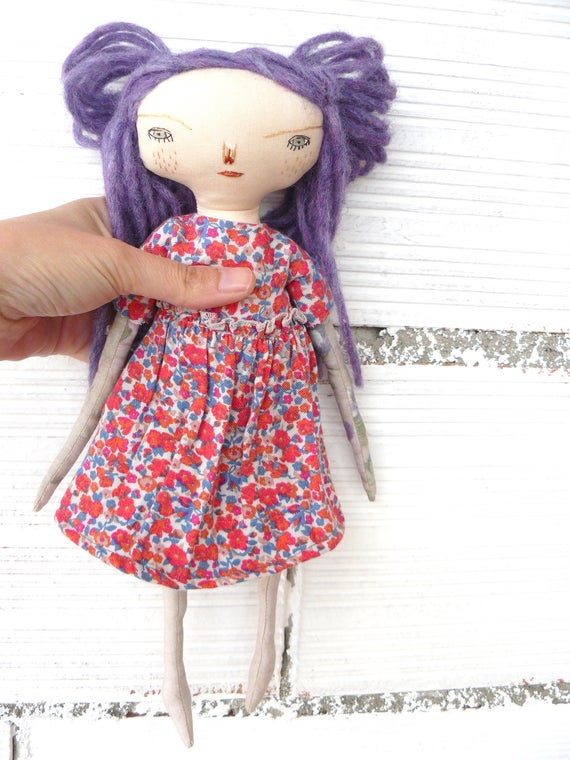 Art doll with alpaca and silk hair a. 32 cm