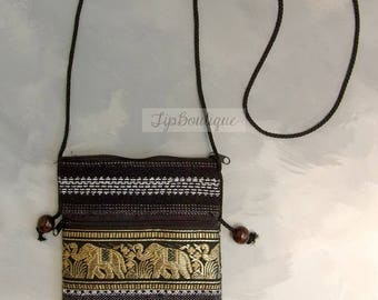 Small Mini Travel Bag Passport Money Cell Phone Crossbody Neck Pouch Sling Zipper 2 Compartments Elephant Ethnic Cotton Fabric Black P15