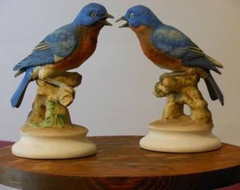 A Matching Pair of Lefton China Porcelain Bisque Bluebirds KW1271