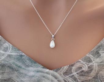 Teardrop Freshwater Pearl Necklace, Sterling Silver Necklace with Teardrop Pearl Charm, Pearl Pendant Necklace, Teardrop Pearl Necklace