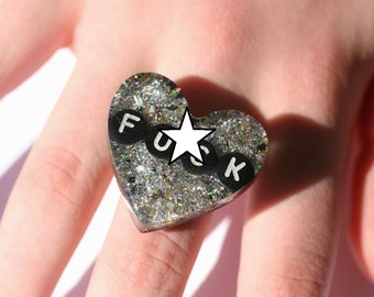 Bad Word Jewerly Feminist Ring Holographic Punk Rocker Statement Ring Riot Grrrl Glitter Ring