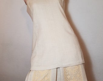 FREE  SHIPPING  1960  Linen and  Lace Dress