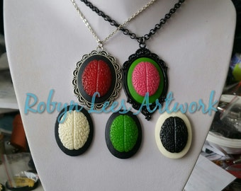 Large Brain Cabochon Necklace on Silver or Black Chain. Pink, Green, Red, White & Black. Anatomy, Gothic, Victorian, Anatomical