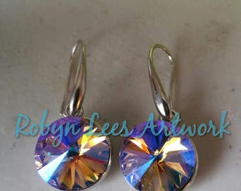 Violet Purple, Orange, Blue Yellow Glass Chaton Stone Earrings on Silver Hooks. Faceted Crystal, Beautiful, Costume, Bridal, Party