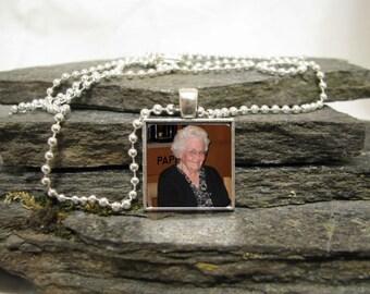 20mm Square Charm Pendant Necklace, Custom Photo Pendant Necklace
