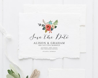 Printable Save the Date Card | Watercolor Floral Save the Date | Wedding Announcement | Simple Rustic Save the Date | SD-001