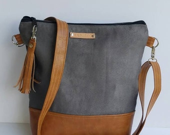 Gray Vegan Leather Crossbody Bag/Gray Vegan Suede Messenger Bag/Everyday Purse/Gray Cross Body Bag/Zippered Crossbody Purse/Boho Chic Purse