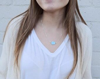 Raw Turquoise Necklace / Sleeping Beauty Turquoise Necklace / Natural Turquoise Gemstone / Simple Turquoise Necklace / Layering Necklace