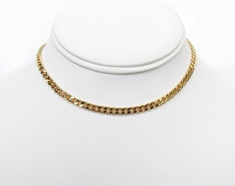 Gold Micro Curb Choker / Curb Chain / Gold Plated / Plain Chain Choker / Stacking Necklace / Thick Chain / Layering Necklace