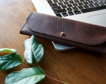 The Galway - Leather Wrap Wallet in Rustic Red Kodiak Leather with Solid Brass Button Stud Closure
