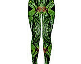 Yoga Leggings:Cannabis Leggings in Blue Widow Flower Marijuana Print, Weed Leggings,Ganja Leggings, Marijuana Leggings-Made to Order