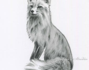 "Fox Art, ORIGINAL Charcoal Drawing, Animal Sketch, Nursery Art 5""×7"", Fox Drawing, Fox Sketch, Charcoal Sketch"