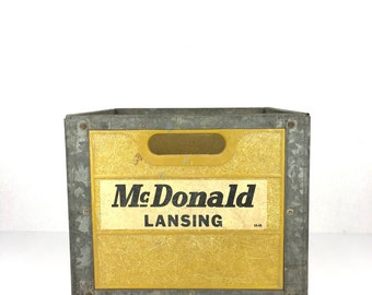 Vintage Dairy Crate 1960 McDonald Lansing Michigan Dairy Crate Old Yellow Metal Crate Industrial Crate Yellow Vintage Milk Crate