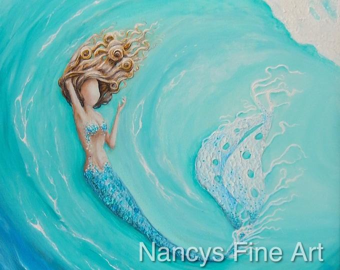 Mermaid teal wall art print, Aqua mermaid in a wave painting, beautiful mermaid art on canvas.  Original painting by Nancy Quiaoit.