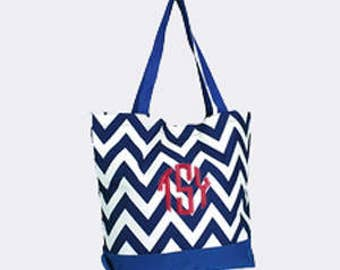 Royal Blue Chevron Canvas Tote Bag with Embroidery Personalization