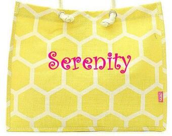 Monogrammed Large Yellow Honeycomb Tote Bag  Monogrammed Tote Bag  Beach Bag  Personalized Tote Bag