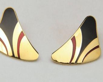 Vintage Laurel Burch Gold Tone Red & Black Enamel Post Back Pierced Earrings