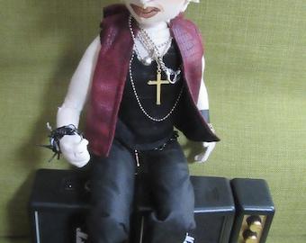 OOAK cloth doll art, Billy Idol