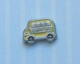 Yellow School Bus Charm for Memory Locket, Glass Locket
