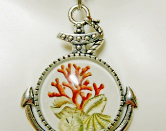 Coral and sand dollar anchor pendant and chain - SAP05-023