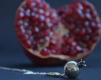 Persephone pendant, sterling silver pomegranate pendant, elven jewelry, minimalist bohemian, mythology, fairy, witchy, pagan goddess, gothic