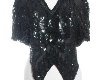 Vintage 1980's Black Sequin Butterfly Top - www.brickvintage.com